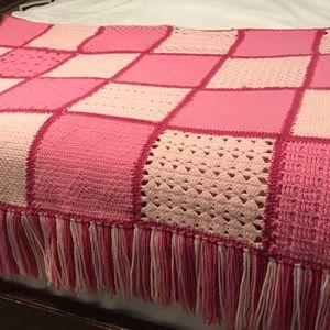 Vintage Handmade Pink Crochet Afghan with Fringe